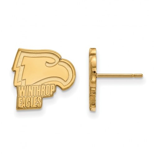 Winthrop Eagles Sterling Silver Gold Plated Small Post Earrings