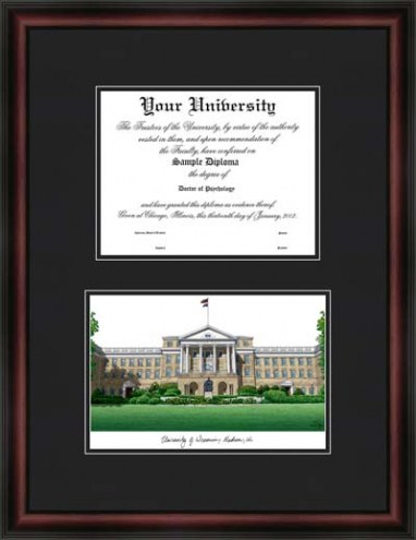 University of Wisconsin Madison Diplomate Framed Lithograph with Diploma Opening