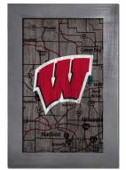 """Wisconsin Badgers 11"""" x 19"""" City Map Framed Sign"""