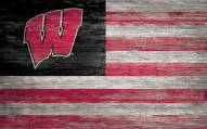"""Wisconsin Badgers 11"""" x 19"""" Distressed Flag Sign"""