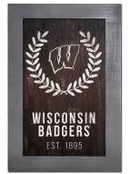 "Wisconsin Badgers 11"" x 19"" Laurel Wreath Framed Sign"