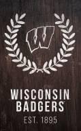 """Wisconsin Badgers 11"""" x 19"""" Laurel Wreath Sign"""