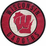 """Wisconsin Badgers 12"""" Circle with State Sign"""