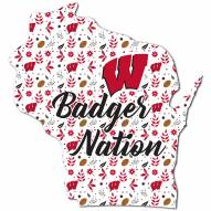 """Wisconsin Badgers 12"""" Floral State Sign"""