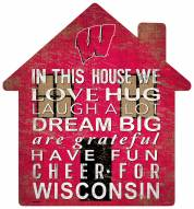 """Wisconsin Badgers 12"""" House Sign"""