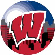 """Wisconsin Badgers 12"""" Landscape Circle Sign"""