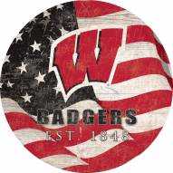 """Wisconsin Badgers 12"""" Team Color Flag Circle Sign"""