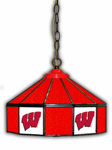 "Wisconsin Badgers 14"" Glass Pub Lamp"