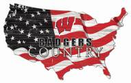 "Wisconsin Badgers 15"" USA Flag Cutout Sign"