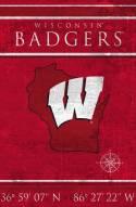 "Wisconsin Badgers 17"" x 26"" Coordinates Sign"