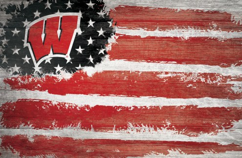 """Wisconsin Badgers 17"""" x 26"""" Flag Sign"""