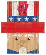 """Wisconsin Badgers 19"""" x 16"""" Patriotic Head"""