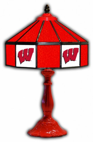 """Wisconsin Badgers 21"""" Glass Table Lamp"""