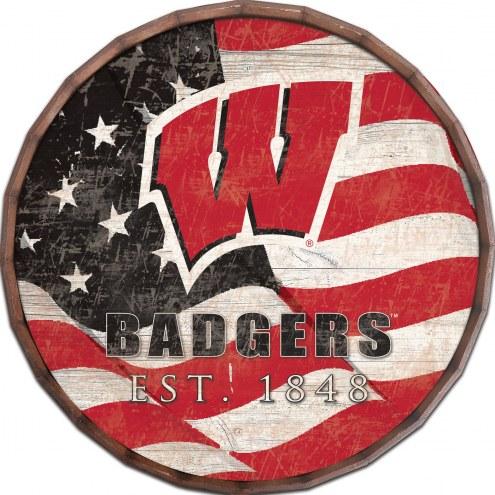 """Wisconsin Badgers 24"""" Flag Barrel Top"""