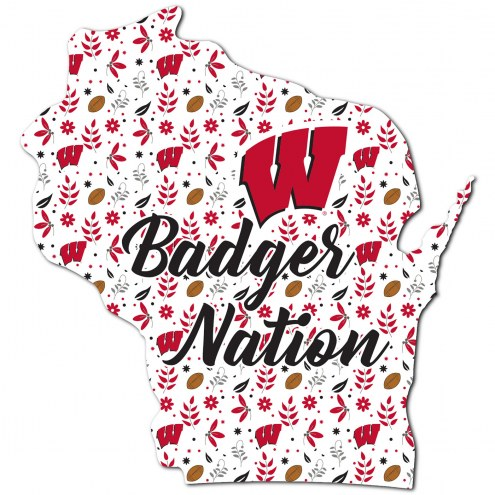 """Wisconsin Badgers 24"""" Floral State Sign"""