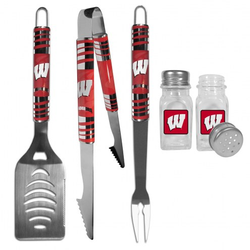 Wisconsin Badgers 3 Piece Tailgater BBQ Set and Salt and Pepper Shakers