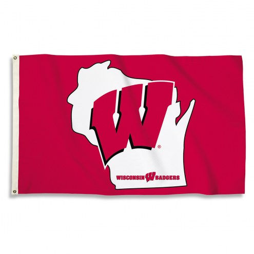 Wisconsin Badgers 3' x 5' State Outline Flag