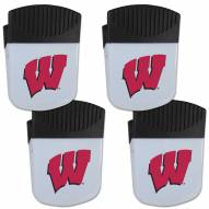 Wisconsin Badgers 4 Pack Chip Clip Magnet with Bottle Opener