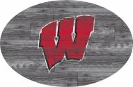 """Wisconsin Badgers 46"""" Distressed Wood Oval Sign"""
