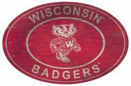 """Wisconsin Badgers 46"""" Heritage Logo Oval Sign"""
