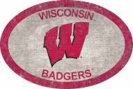 """Wisconsin Badgers 46"""" Team Color Oval Sign"""