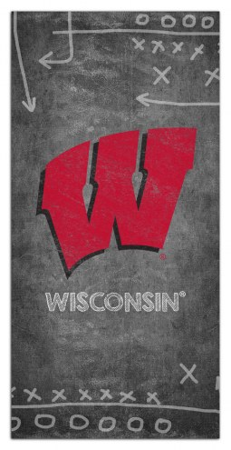 """Wisconsin Badgers 6"""" x 12"""" Chalk Playbook Sign"""