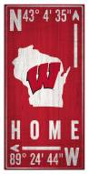 "Wisconsin Badgers 6"" x 12"" Coordinates Sign"