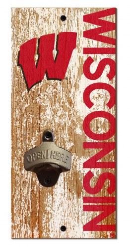 """Wisconsin Badgers 6"""" x 12"""" Distressed Bottle Opener"""