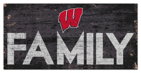 """Wisconsin Badgers 6"""" x 12"""" Family Sign"""