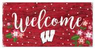"""Wisconsin Badgers 6"""" x 12"""" Floral Welcome Sign"""
