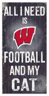 """Wisconsin Badgers 6"""" x 12"""" Football & My Cat Sign"""