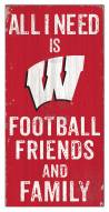 """Wisconsin Badgers 6"""" x 12"""" Friends & Family Sign"""