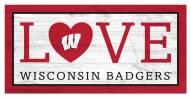 "Wisconsin Badgers 6"" x 12"" Love Sign"