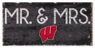 """Wisconsin Badgers 6"""" x 12"""" Mr. & Mrs. Sign"""