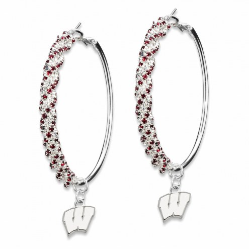 Wisconsin Badgers Amped Logo Crystal Earrings