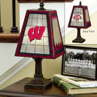 Wisconsin Badgers Art Glass Table Lamp