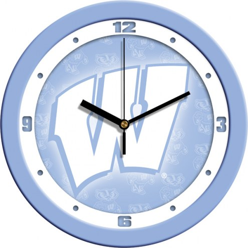 Wisconsin Badgers Baby Blue Wall Clock