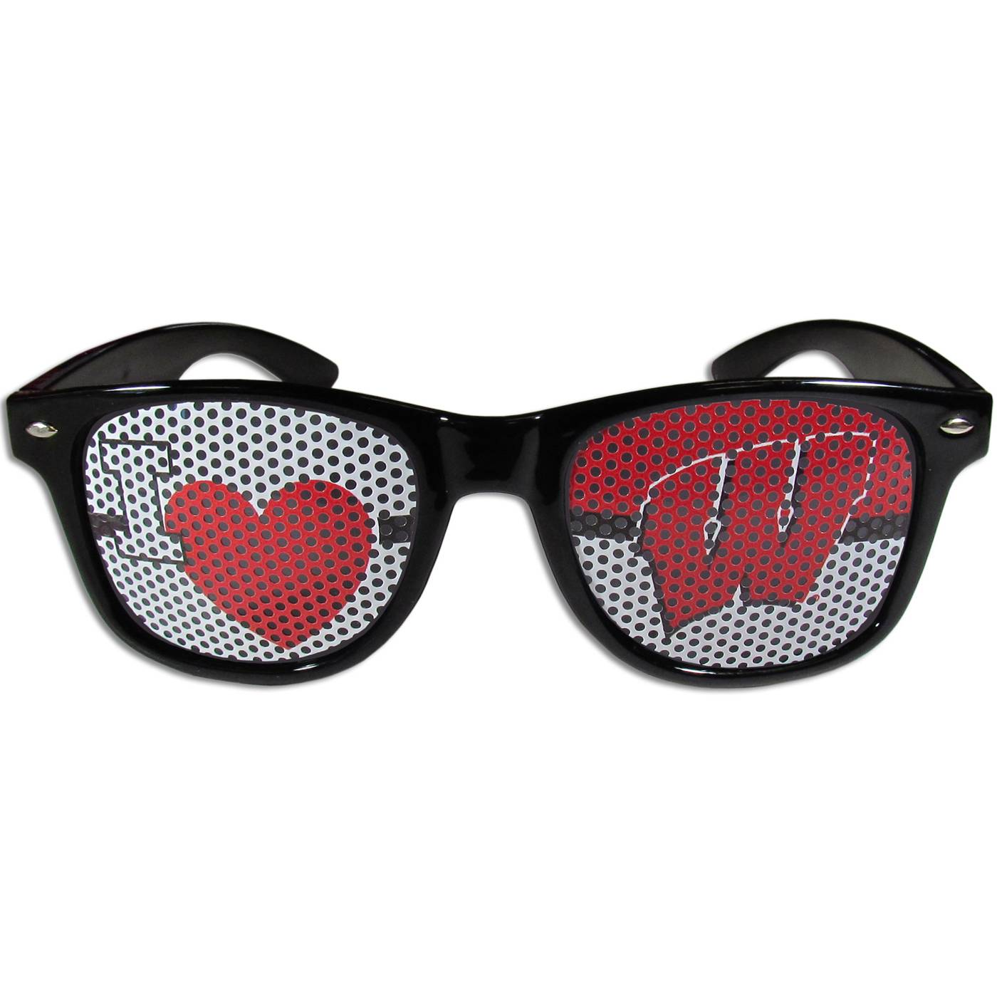 Wisconsin Badgers Black I Heart Game Day Shades