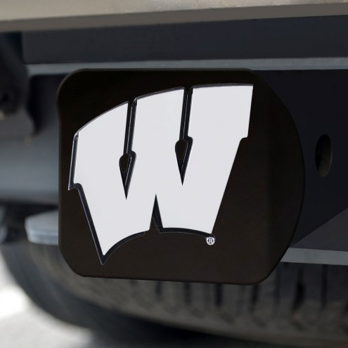 Wisconsin Badgers Black Matte Hitch Cover