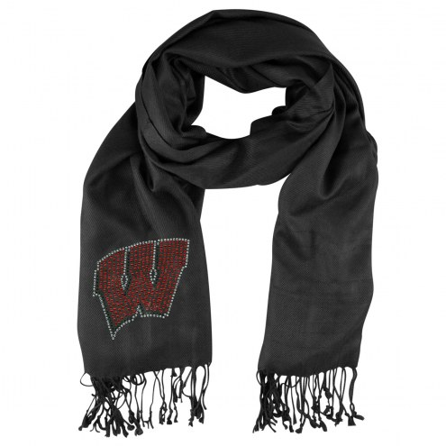 Wisconsin Badgers Black Pashi Fan Scarf