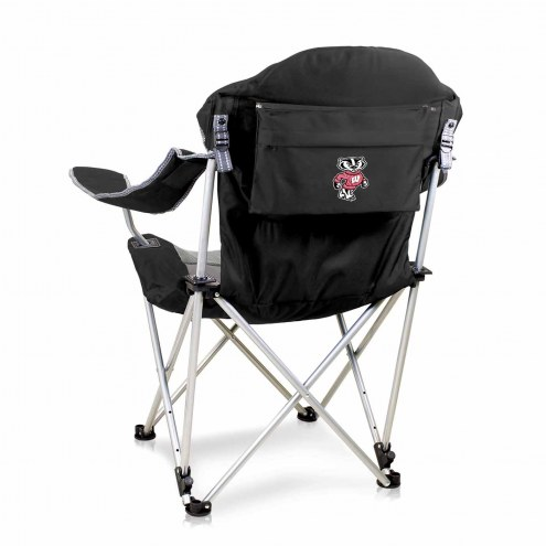 Wisconsin Badgers Black Reclining Camp Chair
