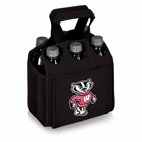 Wisconsin Badgers Black Six Pack Cooler Tote