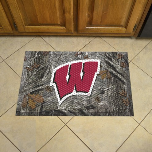 Wisconsin Badgers Camo Scraper Door Mat