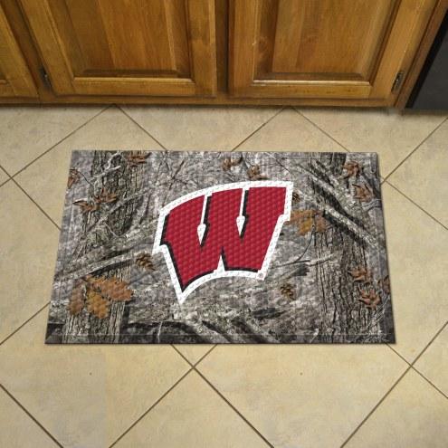 Wisconsin Badgers Camo Scraper Door Mat