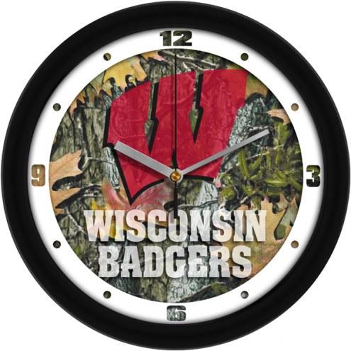 Wisconsin Badgers Camo Wall Clock