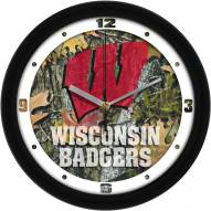 Wisconsin Badgers Camo Wall Clock