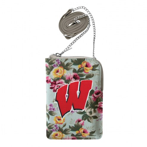 Wisconsin Badgers Canvas Floral Smart Purse
