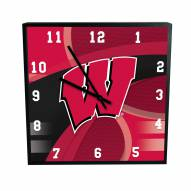 Wisconsin Badgers Carbon Fiber Square Clock