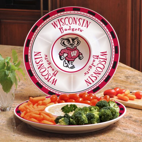 Wisconsin Badgers Ceramic Chip and Dip Serving Dish