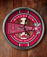 Wisconsin Badgers Chrome Wall Clock
